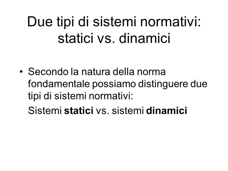 Due tipi di sistemi normativi: statici vs. dinamici Secondo la natura della norma fondamentale possiamo distinguere due tipi di sistemi normativi: Sis