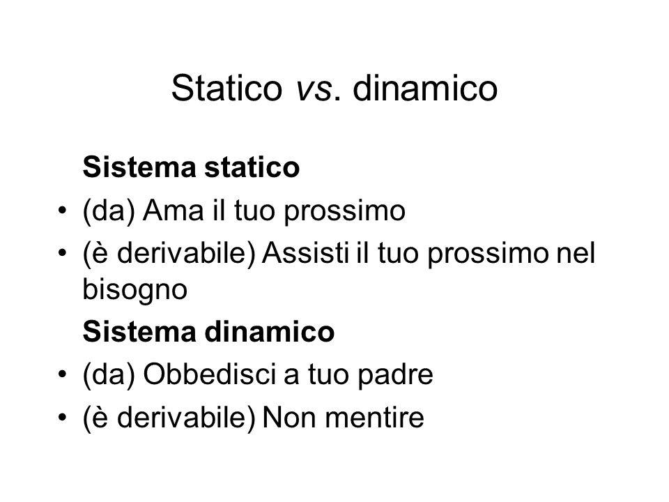 Statico vs. dinamico Sistema statico (da) Ama il tuo prossimo (è derivabile) Assisti il tuo prossimo nel bisogno Sistema dinamico (da) Obbedisci a tuo