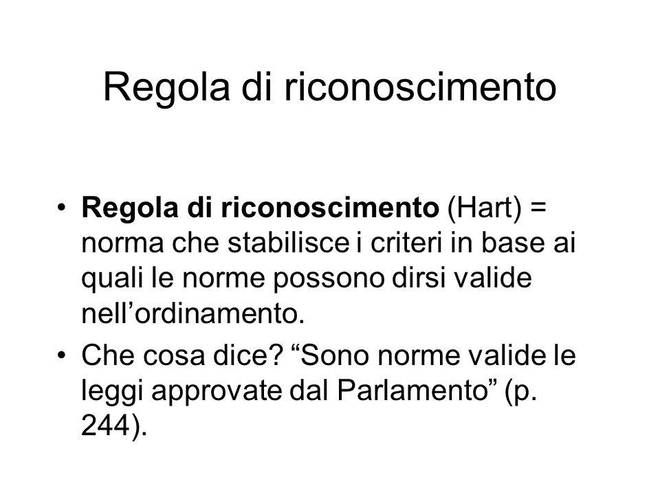 Regola di riconoscimento Regola di riconoscimento (Hart) = norma che stabilisce i criteri in base ai quali le norme possono dirsi valide nellordinamen