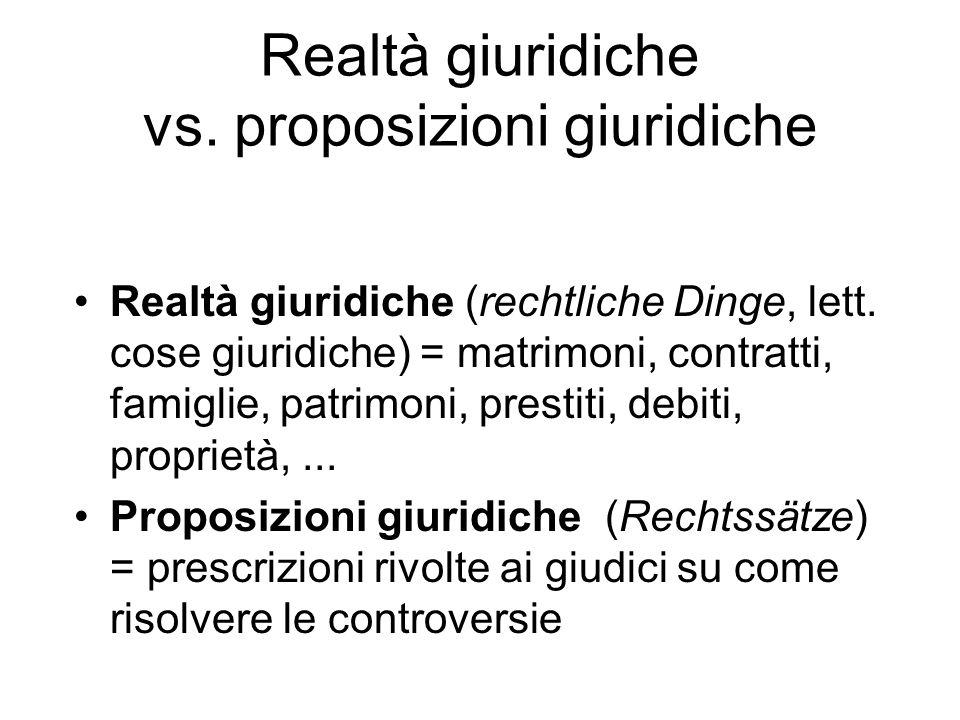 Realtà giuridiche vs. proposizioni giuridiche Realtà giuridiche (rechtliche Dinge, lett. cose giuridiche) = matrimoni, contratti, famiglie, patrimoni,