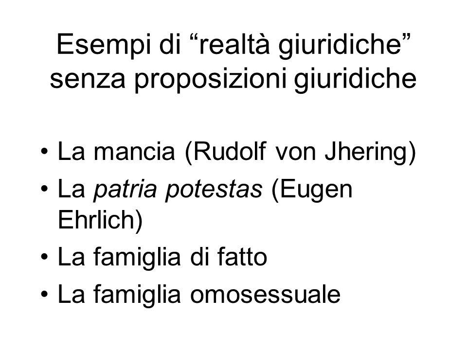 Esempi di realtà giuridiche senza proposizioni giuridiche La mancia (Rudolf von Jhering) La patria potestas (Eugen Ehrlich) La famiglia di fatto La fa