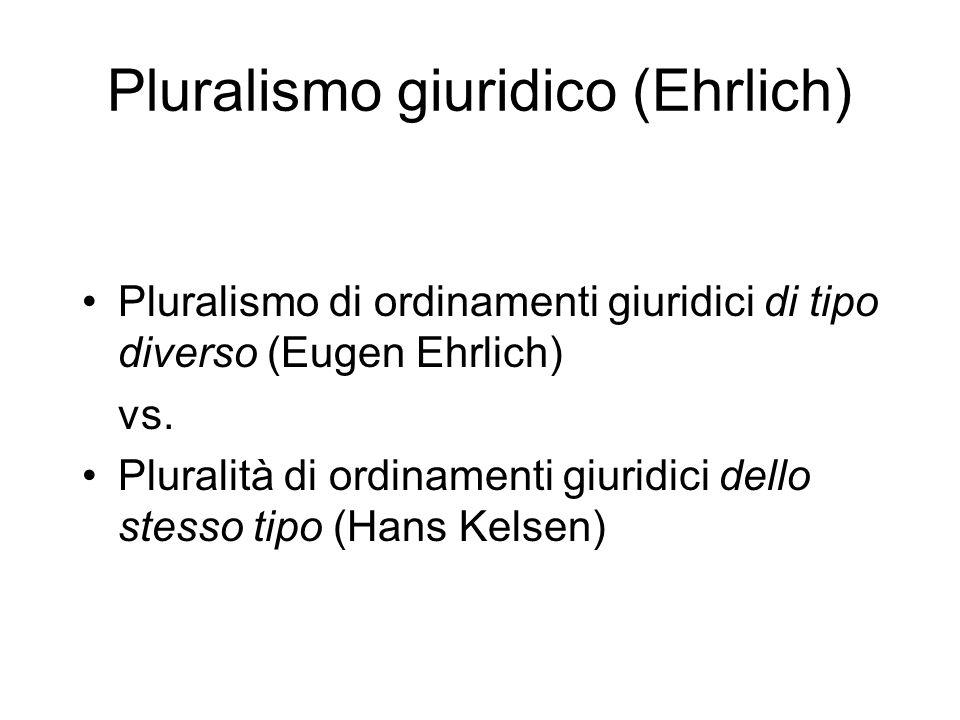 Pluralismo giuridico (Ehrlich) Pluralismo di ordinamenti giuridici di tipo diverso (Eugen Ehrlich) vs. Pluralità di ordinamenti giuridici dello stesso