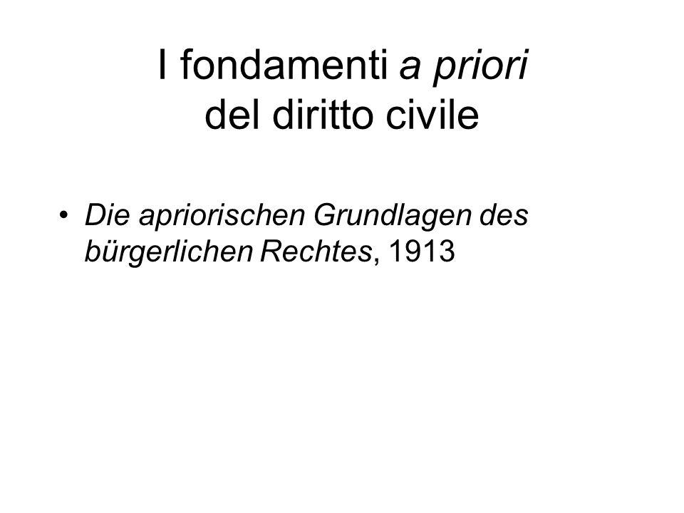 I fondamenti a priori del diritto civile Die apriorischen Grundlagen des bürgerlichen Rechtes, 1913