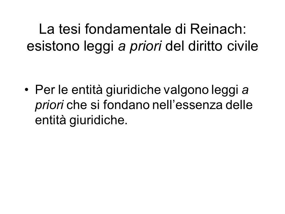 La tesi fondamentale di Reinach: esistono leggi a priori del diritto civile Per le entità giuridiche valgono leggi a priori che si fondano nellessenza