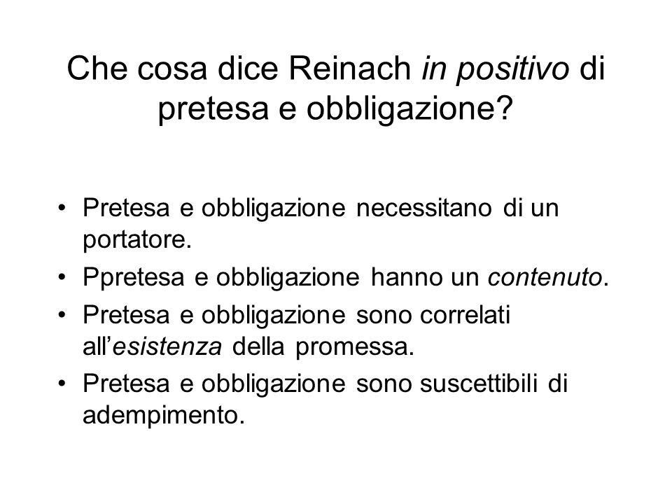 Che cosa dice Reinach in positivo di pretesa e obbligazione? Pretesa e obbligazione necessitano di un portatore. Ppretesa e obbligazione hanno un cont