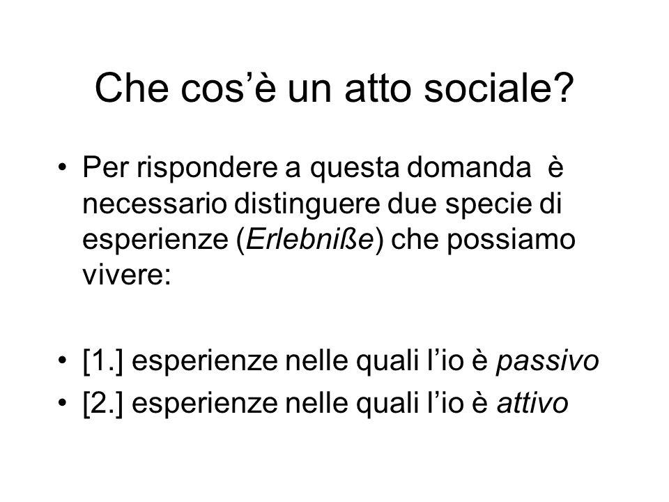 Che cosè un atto sociale? Per rispondere a questa domanda è necessario distinguere due specie di esperienze (Erlebniße) che possiamo vivere: [1.] espe