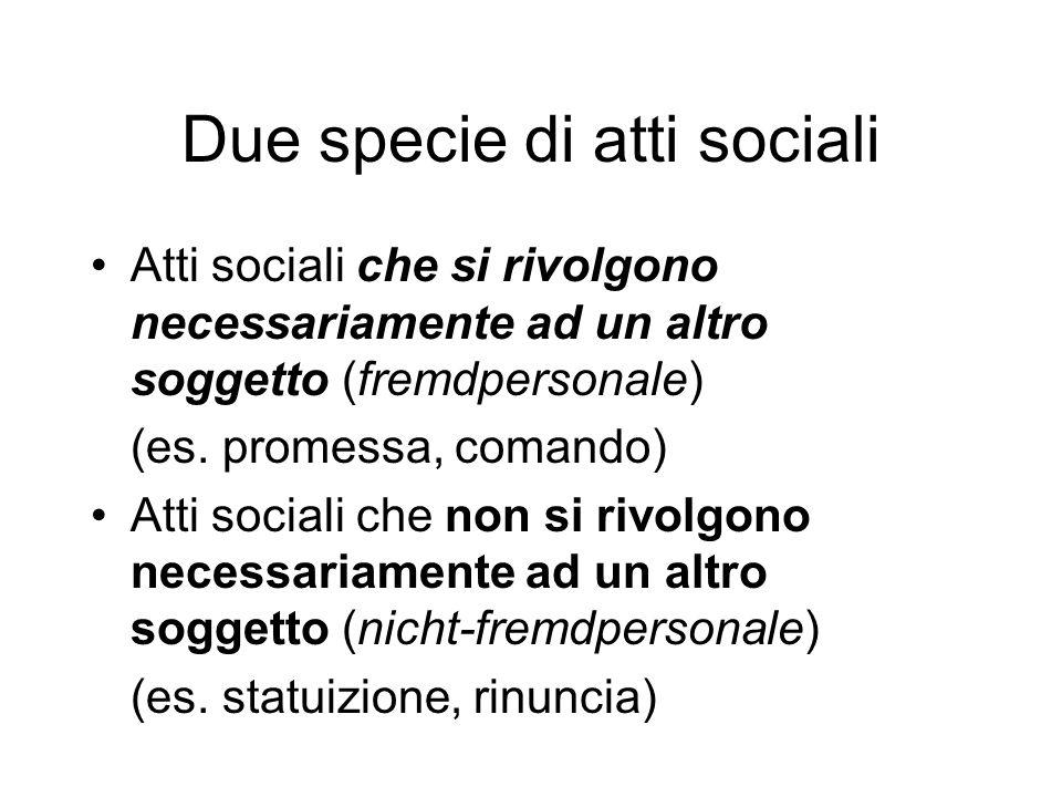 Due specie di atti sociali Atti sociali che si rivolgono necessariamente ad un altro soggetto (fremdpersonale) (es. promessa, comando) Atti sociali ch