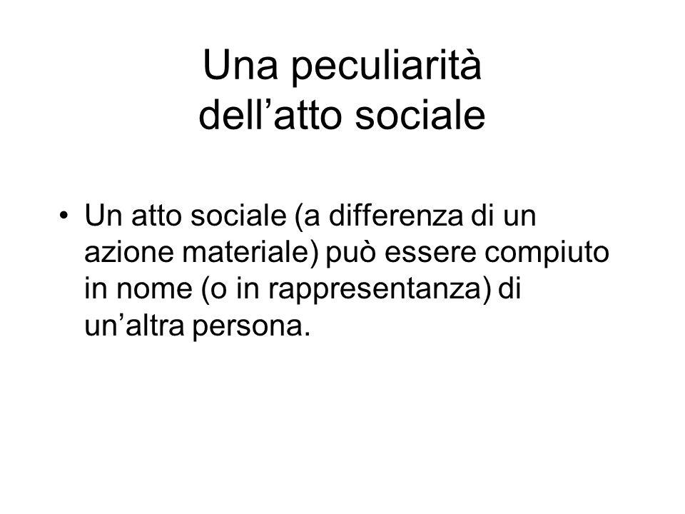Una peculiarità dellatto sociale Un atto sociale (a differenza di un azione materiale) può essere compiuto in nome (o in rappresentanza) di unaltra pe