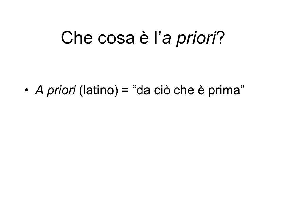 Che cosa è la priori? A priori (latino) = da ciò che è prima