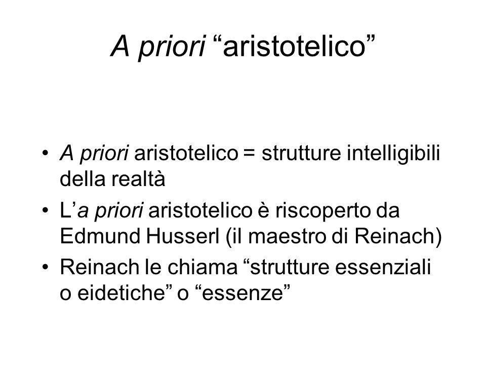 A priori aristotelico A priori aristotelico = strutture intelligibili della realtà La priori aristotelico è riscoperto da Edmund Husserl (il maestro d