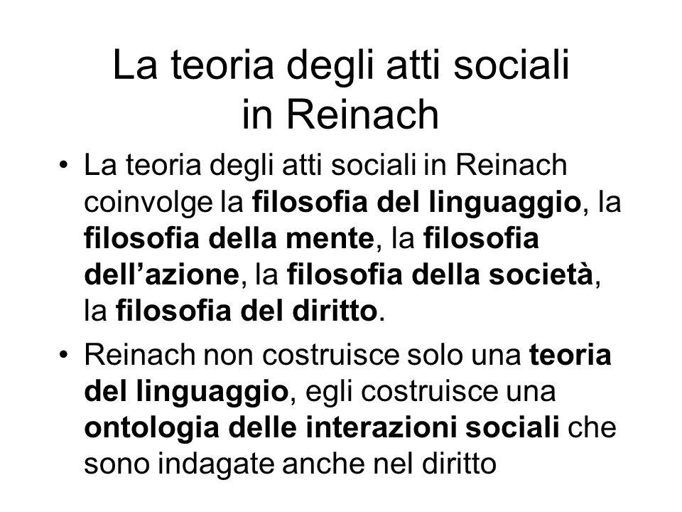 La teoria degli atti sociali in Reinach La teoria degli atti sociali in Reinach coinvolge la filosofia del linguaggio, la filosofia della mente, la fi
