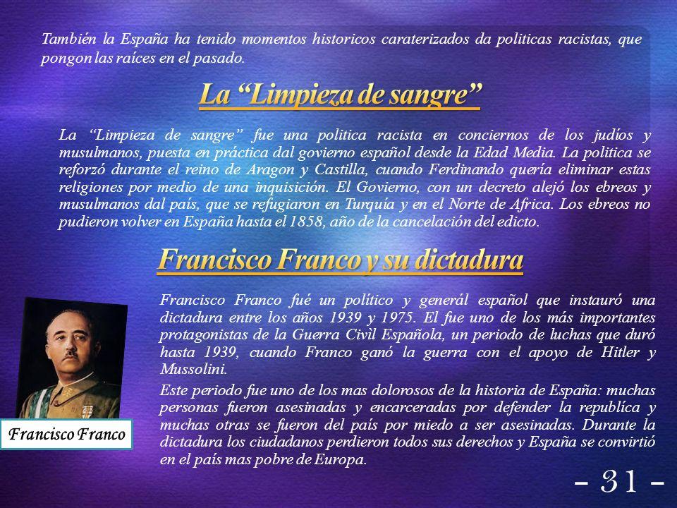 Francisco Franco fué un político y generál español que instauró una dictadura entre los años 1939 y 1975. El fue uno de los más importantes protagonis