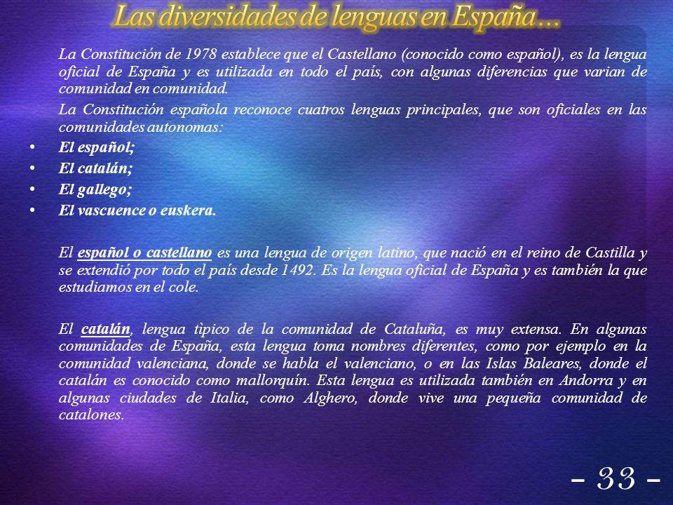 La Constitución de 1978 establece que el Castellano (conocido como español), es la lengua oficial de España y es utilizada en todo el país, con alguna