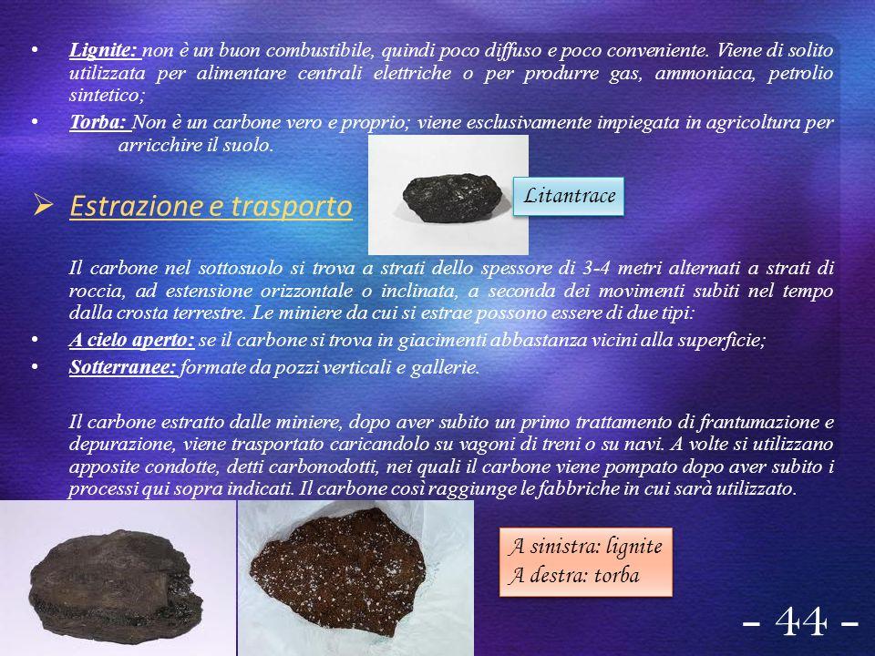 Lignite: non è un buon combustibile, quindi poco diffuso e poco conveniente. Viene di solito utilizzata per alimentare centrali elettriche o per produ