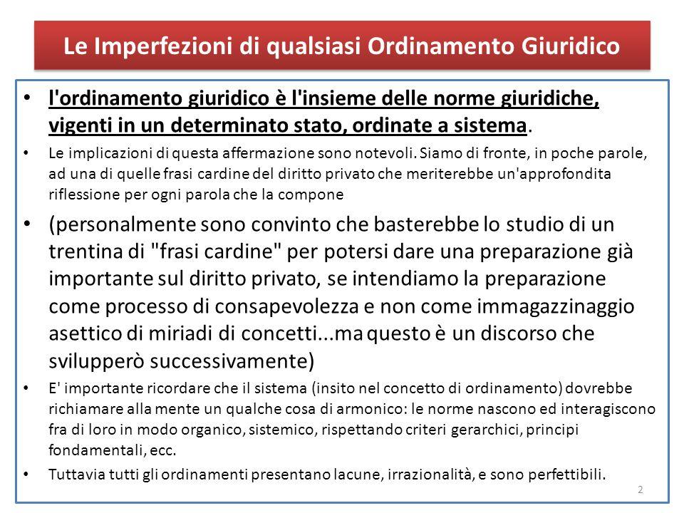 Le Imperfezioni di qualsiasi Ordinamento Giuridico l ordinamento giuridico è l insieme delle norme giuridiche, vigenti in un determinato stato, ordinate a sistema.