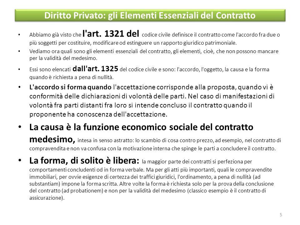 Diritto Privato: gli Elementi Essenziali del Contratto Abbiamo già visto che l art.