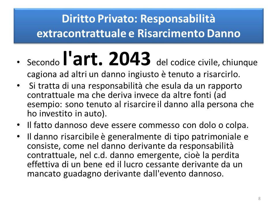 Diritto Privato: Responsabilità extracontrattuale e Risarcimento Danno Secondo l art.