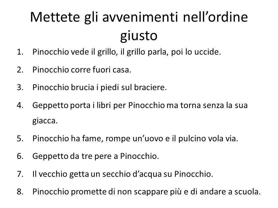 Lordine giusto 2.Pinocchio corre fuori di casa. 1.