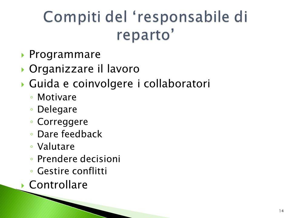 Programmare Organizzare il lavoro Guida e coinvolgere i collaboratori Motivare Delegare Correggere Dare feedback Valutare Prendere decisioni Gestire conflitti Controllare 14