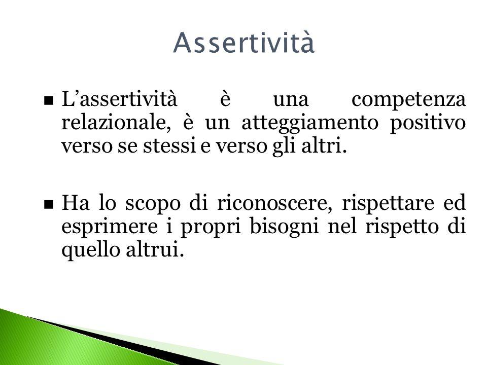 Lassertività è una competenza relazionale, è un atteggiamento positivo verso se stessi e verso gli altri. Ha lo scopo di riconoscere, rispettare ed es