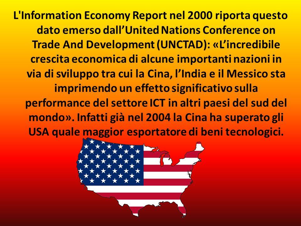 L Information Economy Report nel 2000 riporta questo dato emerso dallUnited Nations Conference on Trade And Development (UNCTAD): «Lincredibile crescita economica di alcune importanti nazioni in via di sviluppo tra cui la Cina, lIndia e il Messico sta imprimendo un effetto significativo sulla performance del settore ICT in altri paesi del sud del mondo».
