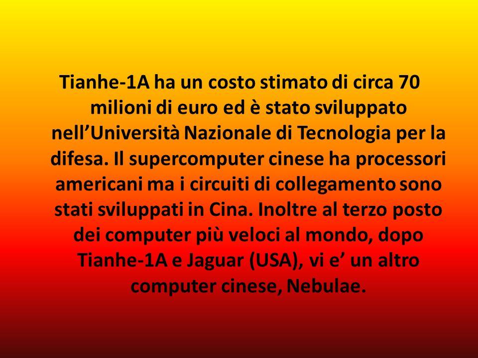 Tianhe-1A ha un costo stimato di circa 70 milioni di euro ed è stato sviluppato nellUniversità Nazionale di Tecnologia per la difesa.