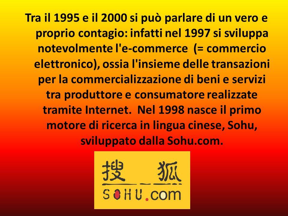 Tra il 1995 e il 2000 si può parlare di un vero e proprio contagio: infatti nel 1997 si sviluppa notevolmente l e-commerce (= commercio elettronico), ossia l insieme delle transazioni per la commercializzazione di beni e servizi tra produttore e consumatore realizzate tramite Internet.