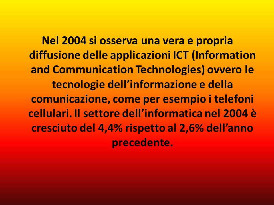 Nel 2004 si osserva una vera e propria diffusione delle applicazioni ICT (Information and Communication Technologies) ovvero le tecnologie dellinformazione e della comunicazione, come per esempio i telefoni cellulari.