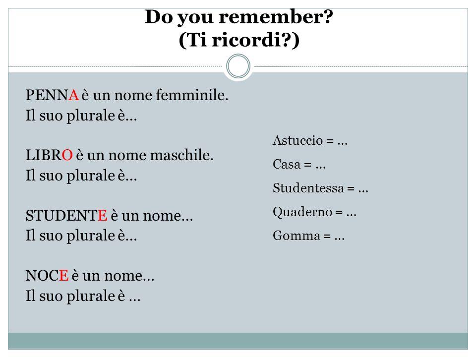 Do you remember.(Ti ricordi?) PENNA è un nome femminile.