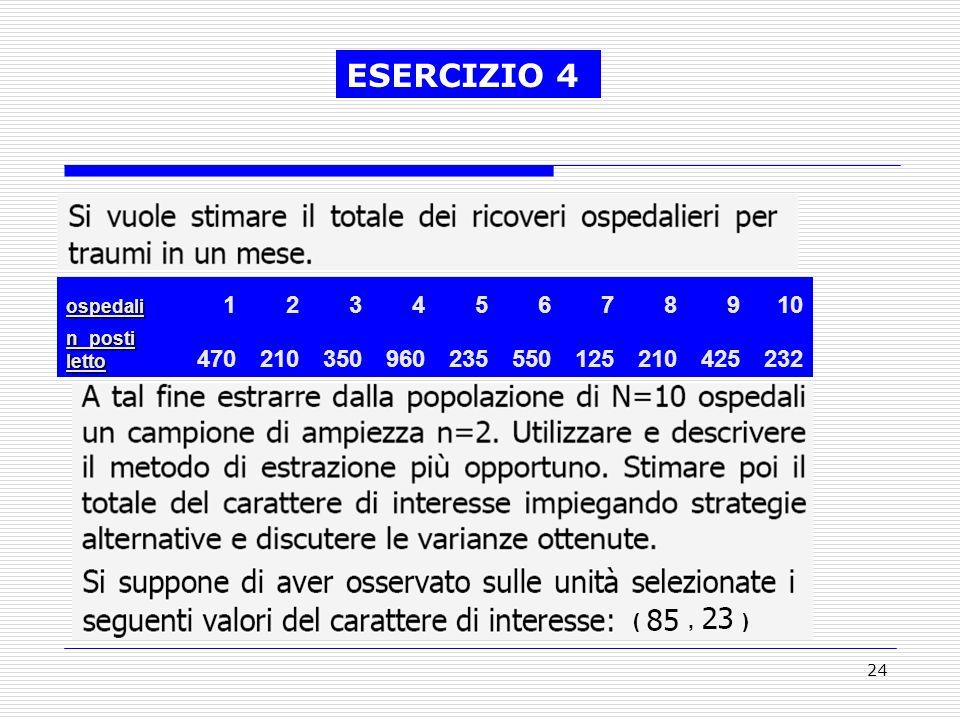 24 (, ) ESERCIZIO 4ospedali 12345678910 n_posti letto 470210350960235550125210425232