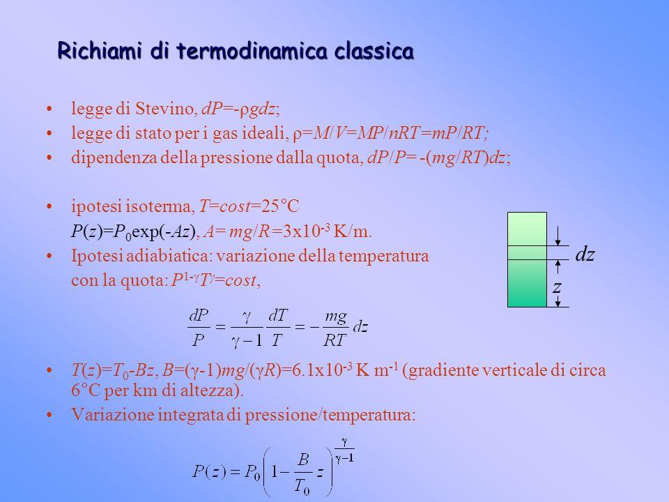 Richiami di termodinamica classica legge di Stevino, dP=-ρgdz; legge di stato per i gas ideali, ρ=M/V=MP/nRT=mP/RT; dipendenza della pressione dalla q