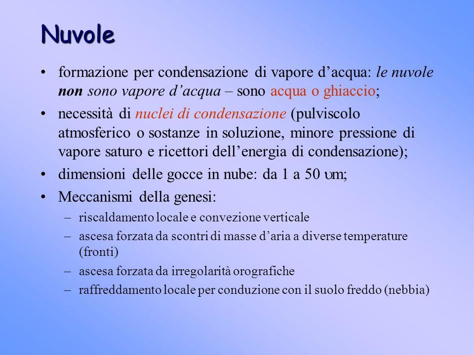 Nuvole formazione per condensazione di vapore dacqua: le nuvole non sono vapore dacqua – sono acqua o ghiaccio; necessità di nuclei di condensazione (