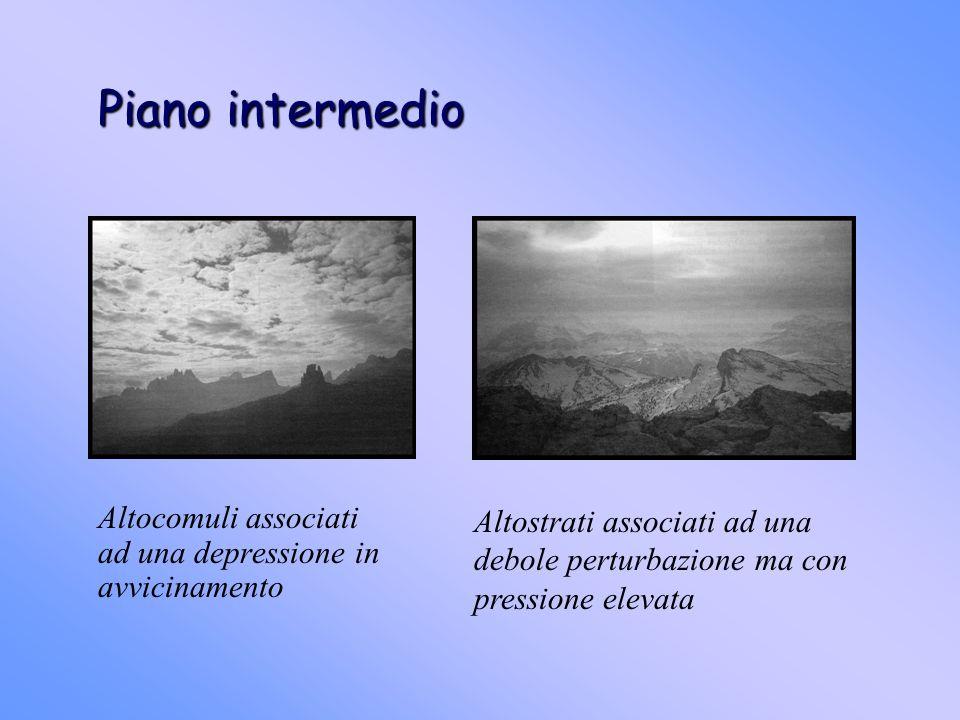 Piano intermedio Altocomuli associati ad una depressione in avvicinamento Altostrati associati ad una debole perturbazione ma con pressione elevata
