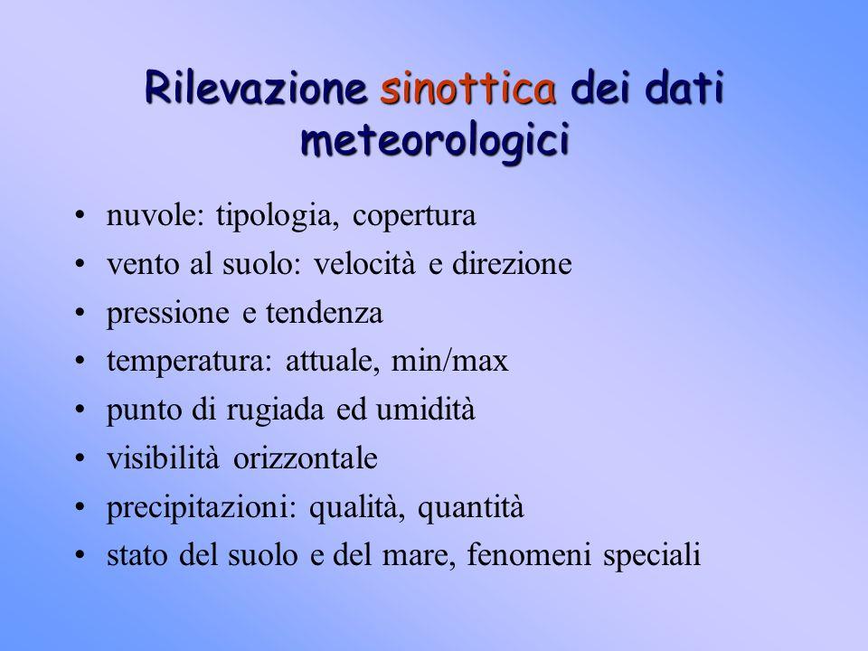 Strumentazione di base anemometro>vento termometro>temperatura barometro>pressione psicrometro>umidità pluviometro>precipitazioni radiometro>irraggiamento eliografo>esposizione