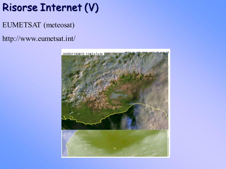 Risorse Internet (V) EUMETSAT (meteosat) http://www.eumetsat.int/