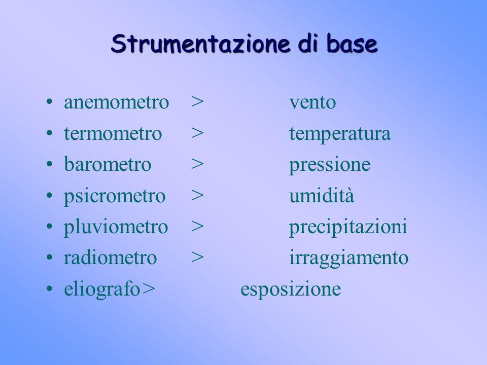 Strumentazione di base anemometro>vento termometro>temperatura barometro>pressione psicrometro>umidità pluviometro>precipitazioni radiometro>irraggiam