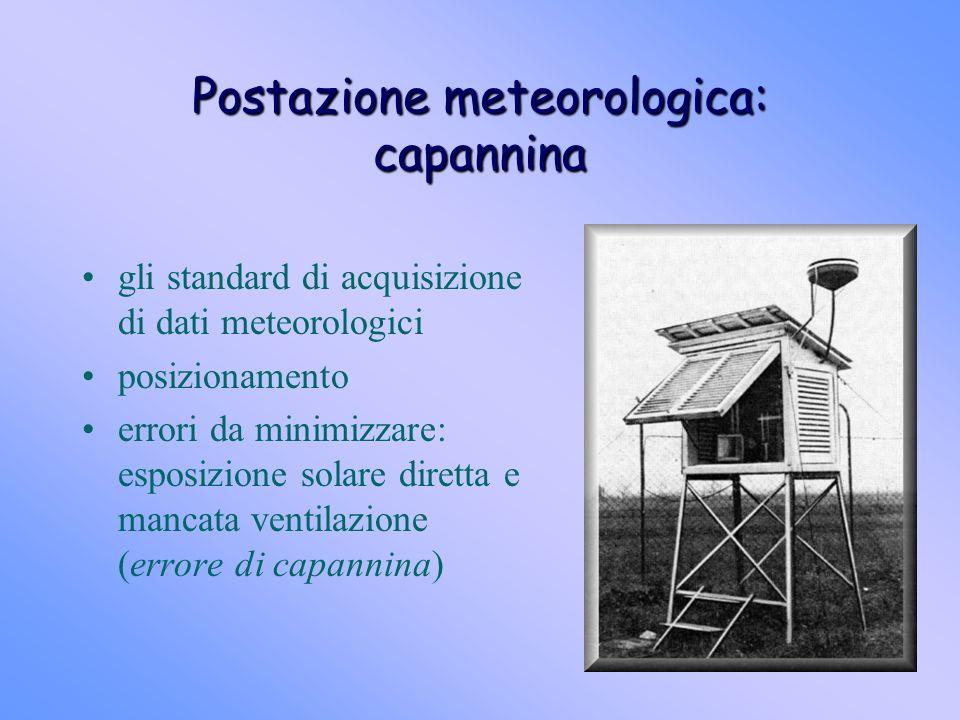 Postazione meteorologica: capannina gli standard di acquisizione di dati meteorologici posizionamento errori da minimizzare: esposizione solare dirett