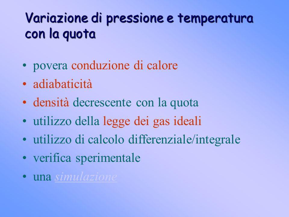 Variazione di pressione e temperatura con la quota povera conduzione di calore adiabaticità densità decrescente con la quota utilizzo della legge dei