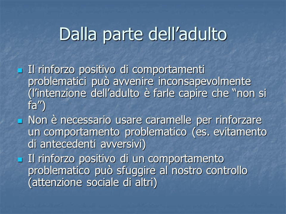 Dalla parte delladulto Il rinforzo positivo di comportamenti problematici può avvenire inconsapevolmente (lintenzione delladulto è farle capire che no