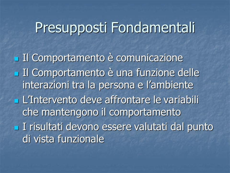 Presupposti Fondamentali Il Comportamento è comunicazione Il Comportamento è comunicazione Il Comportamento è una funzione delle interazioni tra la pe