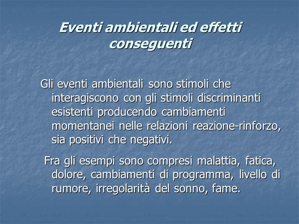 Eventi ambientali ed effetti conseguenti Gli eventi ambientali sono stimoli che interagiscono con gli stimoli discriminanti esistenti producendo cambi