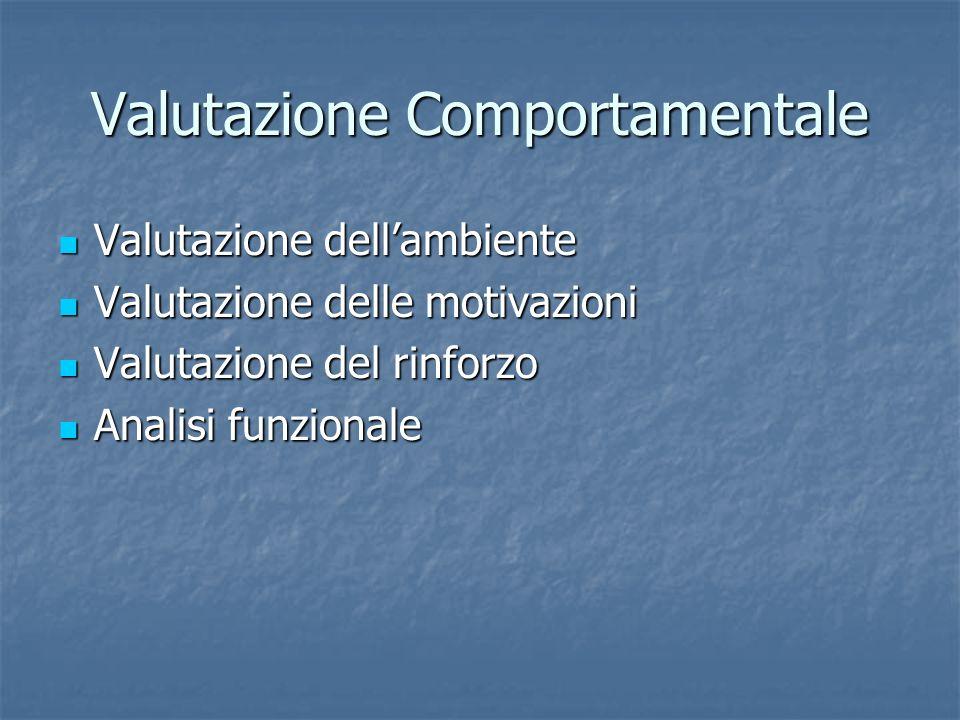 Valutazione Comportamentale Valutazione dellambiente Valutazione dellambiente Valutazione delle motivazioni Valutazione delle motivazioni Valutazione