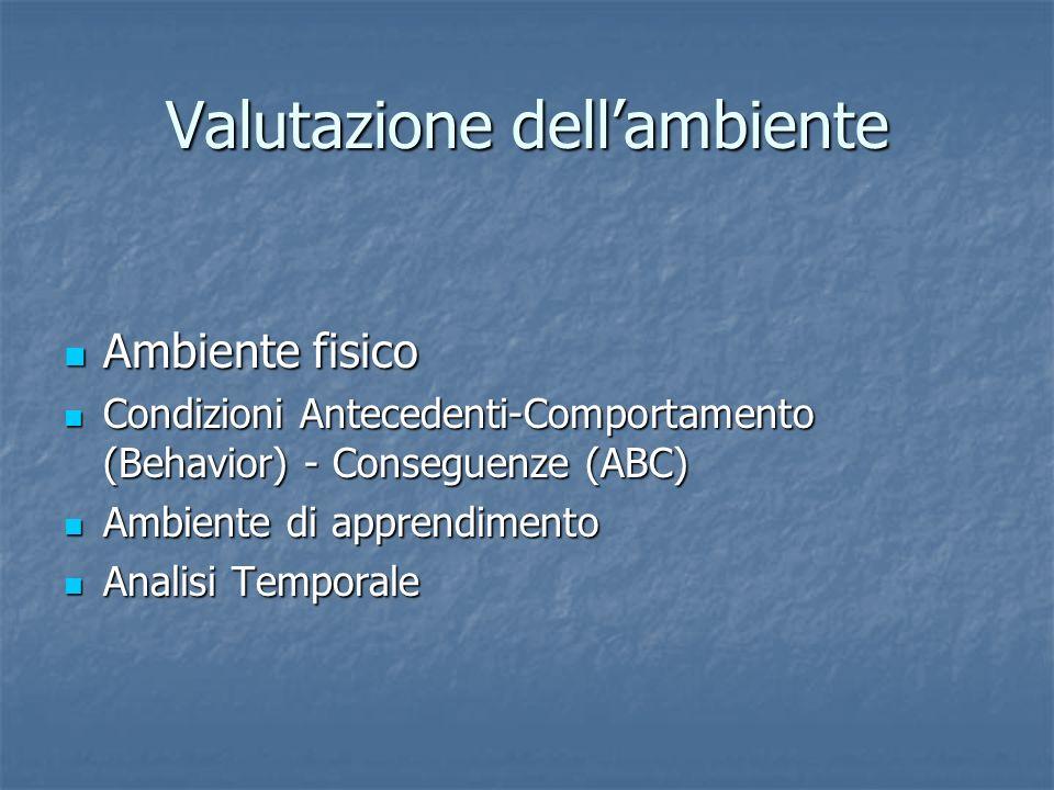 Valutazione dellambiente Ambiente fisico Ambiente fisico Condizioni Antecedenti-Comportamento (Behavior) - Conseguenze (ABC) Condizioni Antecedenti-Co