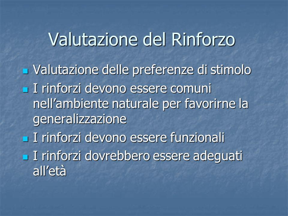 Valutazione del Rinforzo Valutazione delle preferenze di stimolo Valutazione delle preferenze di stimolo I rinforzi devono essere comuni nellambiente