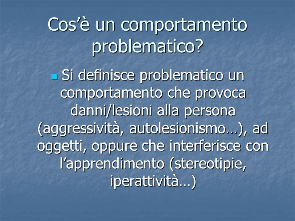 Cosè un comportamento problematico? Si definisce problematico un comportamento che provoca danni/lesioni alla persona (aggressività, autolesionismo…),