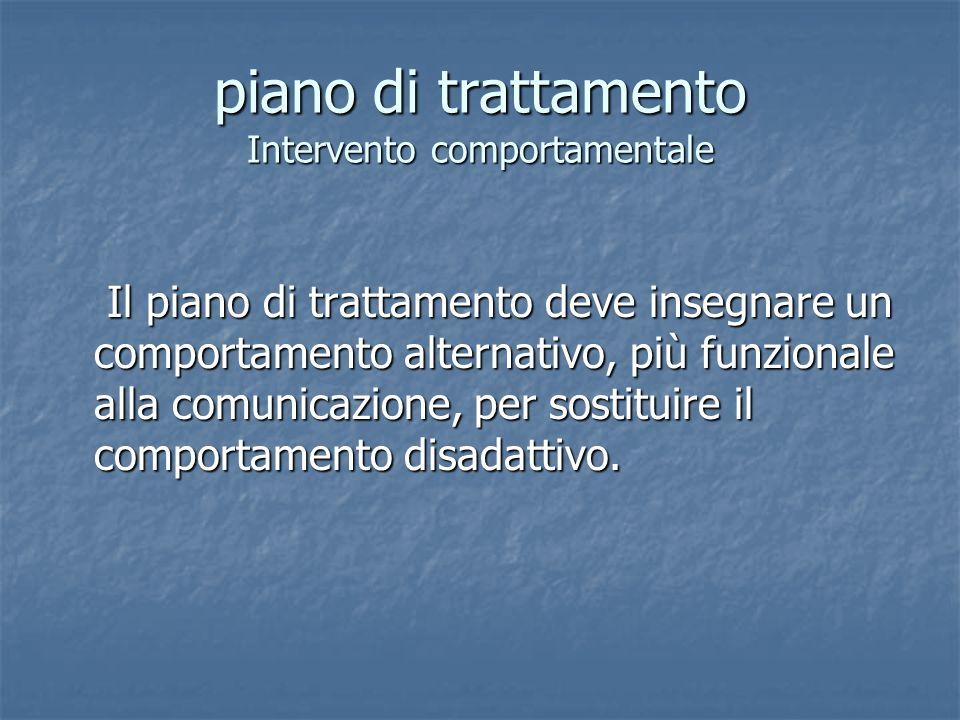 piano di trattamento Intervento comportamentale Il piano di trattamento deve insegnare un comportamento alternativo, più funzionale alla comunicazione