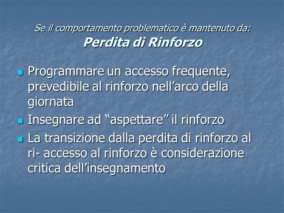 Se il comportamento problematico è mantenuto da: Perdita di Rinforzo Programmare un accesso frequente, prevedibile al rinforzo nellarco della giornata
