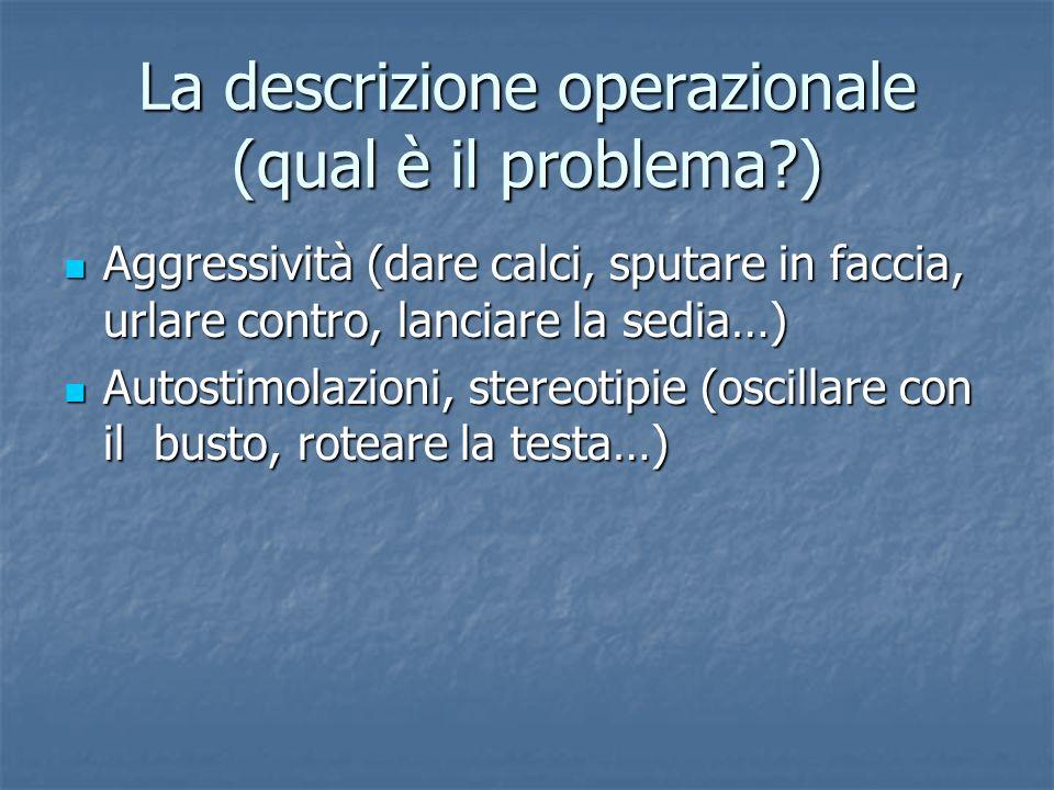 La descrizione operazionale (qual è il problema?) Aggressività (dare calci, sputare in faccia, urlare contro, lanciare la sedia…) Aggressività (dare c