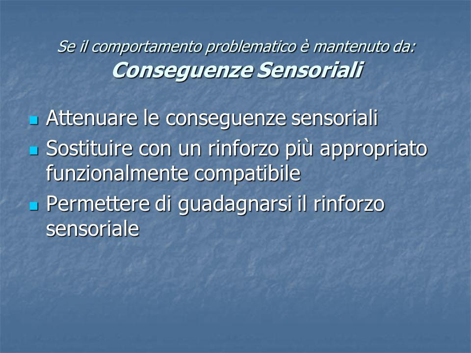Se il comportamento problematico è mantenuto da: Conseguenze Sensoriali Attenuare le conseguenze sensoriali Attenuare le conseguenze sensoriali Sostit