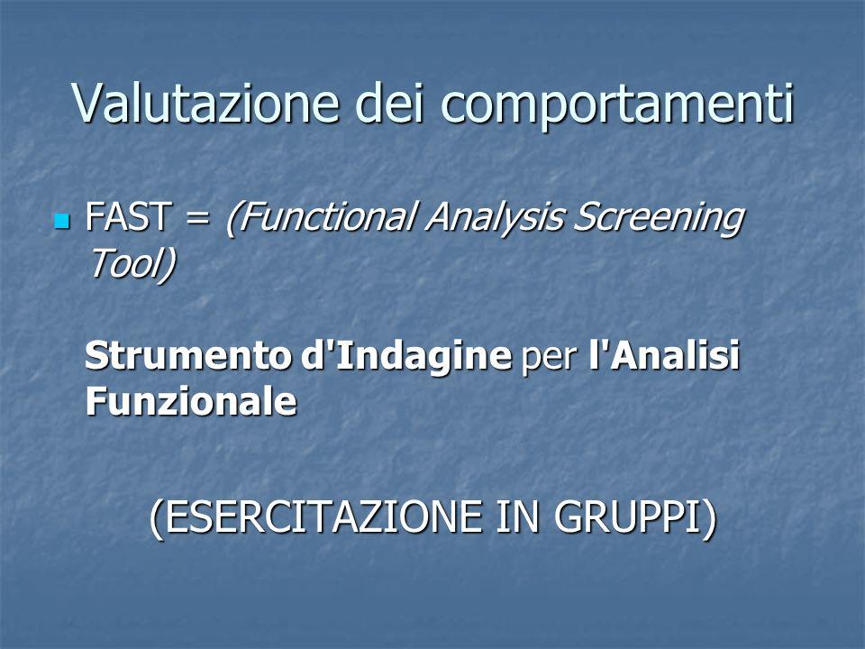 Valutazione dei comportamenti FAST = (Functional Analysis Screening Tool) Strumento d'Indagine per l'Analisi Funzionale FAST = (Functional Analysis Sc